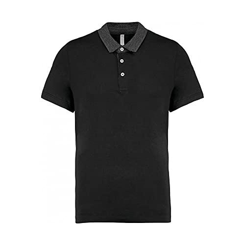 Kariban Polo Jersey Bicolore Homme - Black/Dark Grey Heather, S, Homme