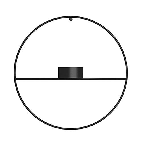 Starnear Wand-Kerzenhalter aus Metall, Schwarz, 3D-Geometrische Wandkerzen, Teelichthalter zur Wandmontage, Wanddekoration Black Short Candlestick 18.5cm