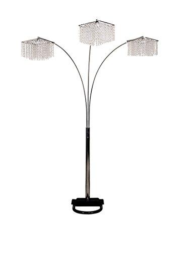 Ore International 6932 3 Light Crystal Inspirational Arch Floor Lamp, 97' x 17.5' x 19', Silver