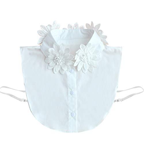 A0127 Halskette, abnehmbar, Falsche Halskette, Schalkragen, Chiffon, Blumen, Bestickt Gr. 38 cm, weiß