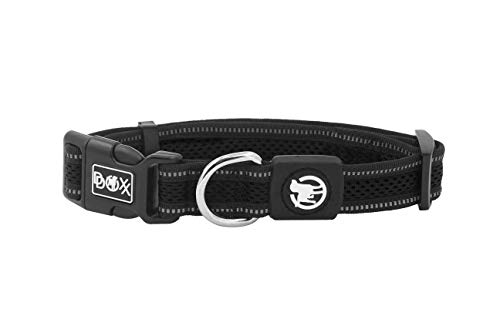 DDOXX Hundehalsband Air Mesh, reflektierend, verstellbar, gepolstert   viele Farben   für kleine & große Hunde   Halsband Hund Katze Welpe   Hunde-Halsbänder   Katzen-Halsband klein   Schwarz, S