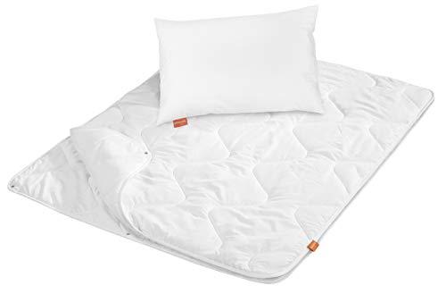 sleepling 197123 Kinderbetten Set Ganzjahresdecke 4-Jahreszeiten Bettdecke 100 x 135 cm und Kinderkopfkissen 40 x 60 cm, weiß