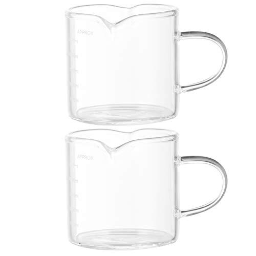 Angoily 2 Tazas de Medición de Espresso con Mango Doble Boquilla de Medición Taza de Leche Triple Vaso de Espresso con Escala 75Ml