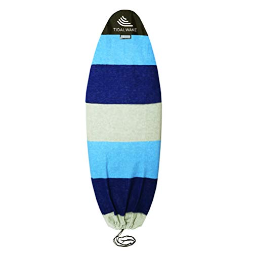 """Tidal Wake TAG-IT Round Nose Surf & Wake Board Sock Bag with Built-in Name Tag, 60"""" Tag Your Bag - Personalize with Your Name! (Blue & Gray Wide Striped)"""