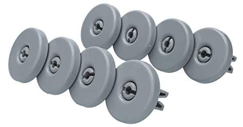 IPRIME Ruedas para cesta inferior de lavavajillas (1 juego = 8 unidades), ruedas inferiores adecuadas para AEG Favorit, Privileg, Zanussi, etc.