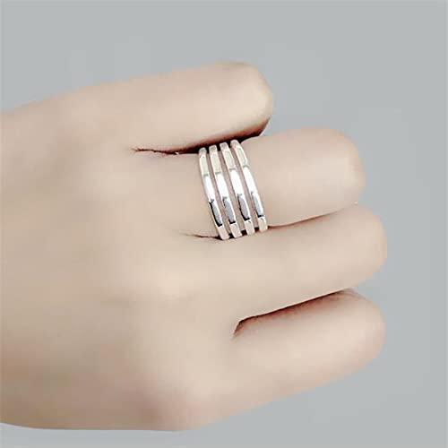 NIUBKLAS Estilo Diamante Liso Cuatro líneas 925 Joyas de Plata esterlina Temperamento Anillos de Apertura geométricos Multicapa R2
