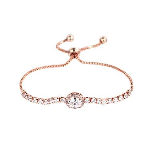 QSO Pulsera de cobre para mujer con incrustaciones de oro rosa con cordón de circonita