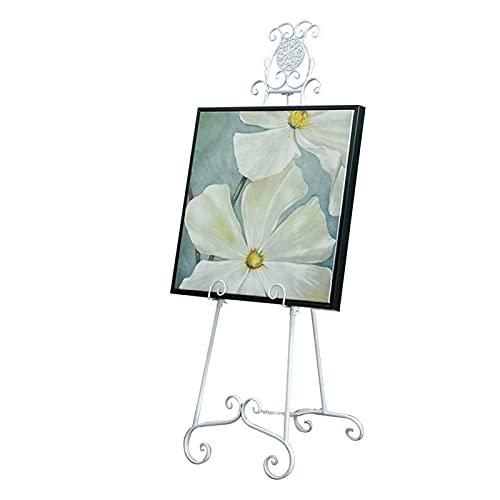 Nai-tripod Caballete De Aceite Hierro Vintage, Soporte De Exhibición Tallado En Suelo Tienda De Ropa Soporte Triangular para Actividades De Boda (Color : White)