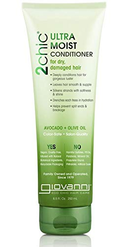 Giovanni Creamy Avocado & Olive Oil Conditioner - 2chic Ultra Moist Hydration Formula For Shiny, Supple Hair, Sulfate Free, Color Safe, 8.5 Ounce (Pack of 1)