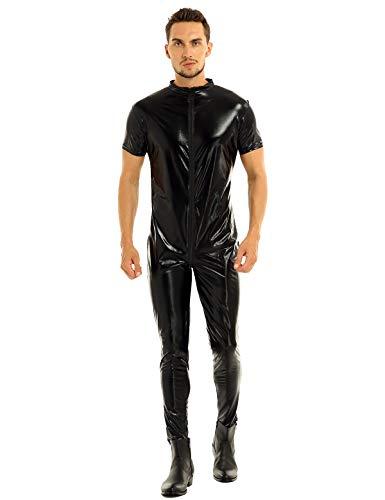 ranrann Catsuit Homme Sexy Cuir Verni Ouvert Zipper Body Transparent Combinaison Wetlook Lingerie Jumpsuit Erotique Bodysuit Respirant Unitard Leotard Clubwear S-XXXL Noir Noir B XXXL
