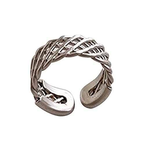 Zhang-StrongAn Anillo de Metal de Malla Hueca desgastada Retro, Personalidad de Viento frío, Anillo Abierto de Malla Simple, Accesorio de joyería para Mujer