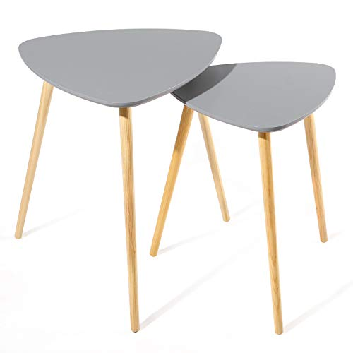 SONGMICS Scandinavian Nesting Side Table, Set of 2 Triangle End Table, Coffee Table with Solid Pine Legs, Nature Grey LET17GY