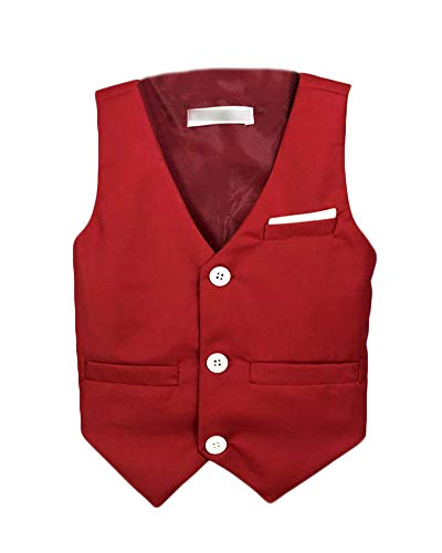 Niño Chico Slim Fit Traje Cuello V Color Sólido Formal Chaleco Sin Mangas Chaqueta