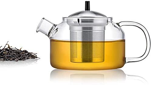 Peakfeng Tetera de Vidrio con infusedor, Tetera de Vidrio con infusor de té de Hoja floreciente - 250ml