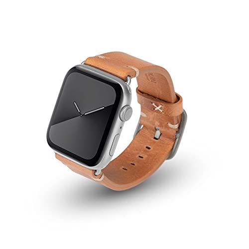 JT Berlin Alex Vintage - Correa de piel para Apple Watch 42 mm/44 mm, [Watch SE, Series 6/5/4/3/2/1, correa de repuesto de cuero suave, cierre de aluminio] coñac/plata (tamaño M/L)