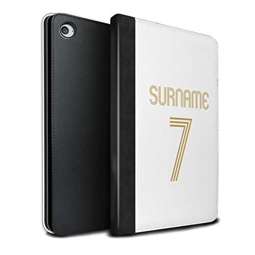 eSwish Personalizado Kit Camiseta Club Fútbol Euro Personalizar Funda PU Cuero para el Apple iPad Mini 4 / Oro Blanco...