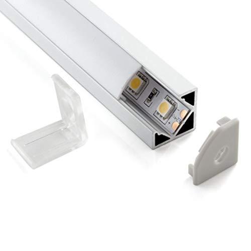 Eurekaled -1 Profilo Alluminio ANGOLARE 45 Gradi da 2 metri per Striscia LED con Copertura OPACA cod. PA2110
