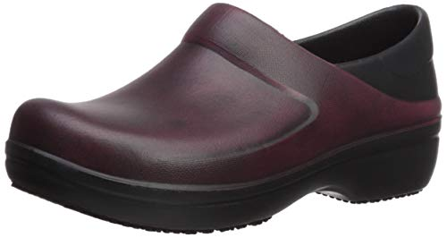Crocs Women's Neria Pro II Distressed Clog Shoe, garnet/black, 9 M US