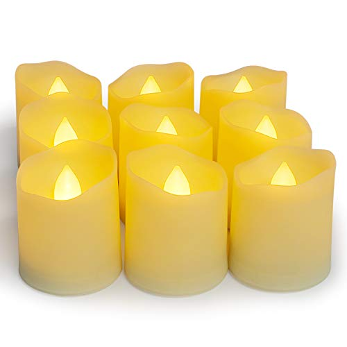 YAOBLUESEA LED Tea Lights, 9 Unidades LED Velas Sin Llama con Mando a Distancia Pilas Vela con Temporizador para Decoración de Navidad Boda Cumpleaños Fiesta (Warm Light)