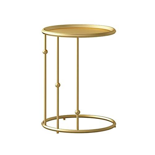 JCNFA MESAS Mesa auxiliar con bandeja de metal,Soporte de la bandeja del escritorio del sofá del refrigerio del café,Industrial moderno Mesa auxiliar C para la s(Size:15.74*15.74*23.62in,Color:Golden)