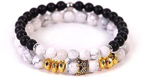 Pulsera Feng Shui Bead Pulsera de piedra Mujer, 7 Chakra Blanca Natural Bead Blanco Turquesa Pulsera Elástica Lucky Bangle Yoga Bola de oro Joyería de moda para mujer Pulsera de abalorios de amuleto
