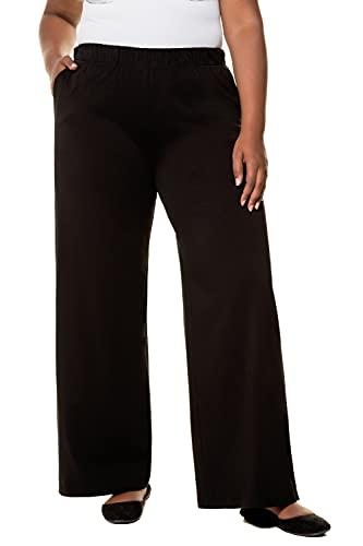 Ulla Popken Femme Grandes Tailles Pantalon uni Droit et Large, mélange Coton Noir 42+ 718196 10-42+