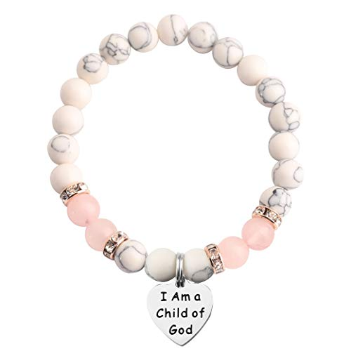 MAOFAED Baptism Gift First Communion Gift I Am a Child of God Religious Jewelry Bracelet (Child of God Beaded)