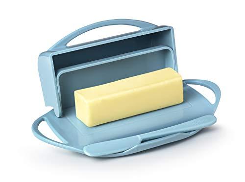 Butterie Flip-Top Butter Dish with Matching Spreader (Light Blue)