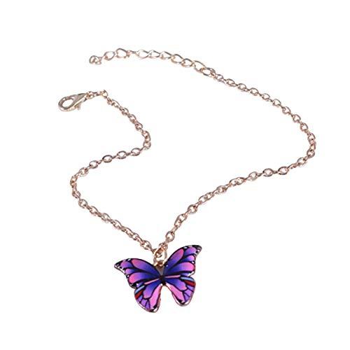 Ruby569y - Pulsera de aleación elegante con colgante de mariposa para mujer, mujer, madre, niña, cadena de aleación de colores para mujer, regalo de Navidad y Año Nuevo, color morado