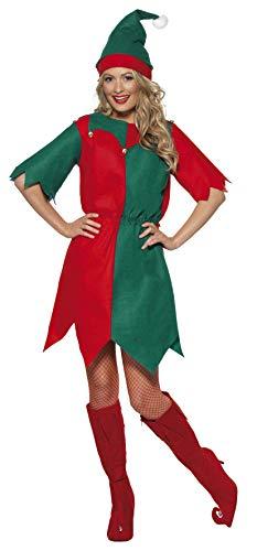 Smiffys Disfraz de elfa con gorro y túnica, Rojo y verde, Small