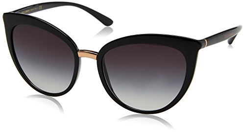 Dolce & Gabbana Women's Essential Cat Eye Sunglasses, Black/Grey, One Size