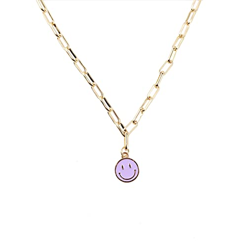 WYCHUN Smiley Face Necklaces,Gold Stainless Steel...