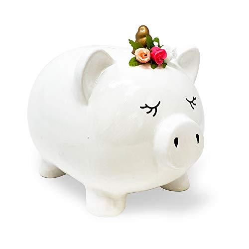 Isaac Jacobs Ceramic Pigicorn Money Bank, Cute Piggy Bank, Princess Unicorn Pig with Floral Wreath, Girls Room Decor, Kids Cartoon Animal Coin Bank, Fun Keepsake Gift for Children and Teens (White)