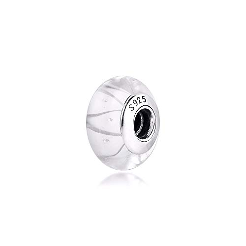 Pandora 925 Jewelry Bracelet Natural White Murano Glass Charms Sterling Silver Charm Beads For Women Diy Gift