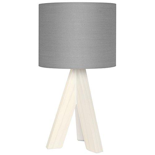 Tischleuchte, Fuss dreibein Holz, Stoffschirm 1 x E14/40W (grau)