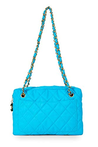 CHANEL Blue Quilted Fabric Shoulder Bag (Renewed)