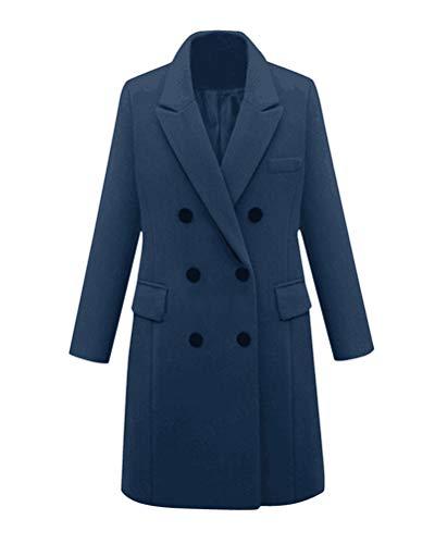 Minetom Damen Winter Revers Wollmantel Trench Jacke Lange Parka Overcoat Outwear Warm Trenchcoat Elegant Knopfleiste Mantel Große Größe Blau 48