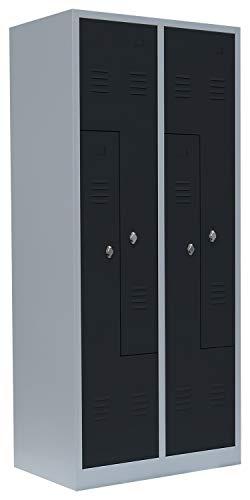 Lüllmann Spind Spint 4er Z-Spind Umkleide Stahl Kleiderschränke Gaderobenschrank 525118 Anthrazit (H x B x T): 1800 x 800 x 500 mm kompl. montiert und verschweißt