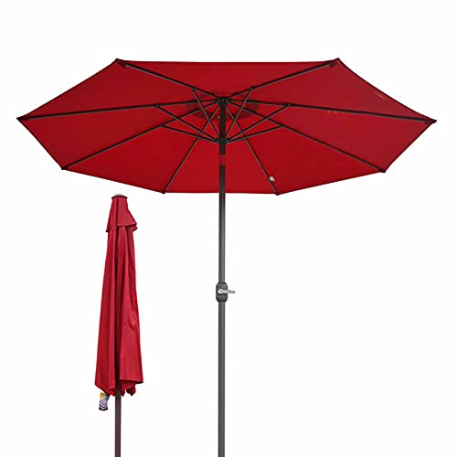 Sombrilla Terraza Parasol Jardin Exterior Sombrilla de Patio para Mercado/Piscina/Playa/Jardín, 2m Mesa Sunbrella con 6 Costillas y Manivela (Color : Red)