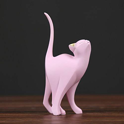 TOSISZ figuur van hars in Scandinavische stijl Roze betoverende kat handwerk decoratie huis mobiele TV figuur camera creatieve accessoires voor ornament, cadeau