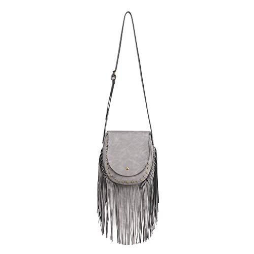 Miss Lulu Mujer Hobo Schoulder Bag Look de gamuza Borla de flecos Boho Bolso cruzado del cuerpo Flap Trend con magnetico (gris)