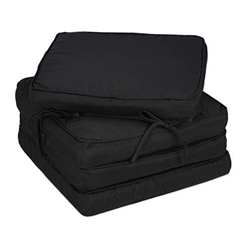 Relaxdays Stuhlkissen 4er Set, 40x40 cm, Sitzkissen mit Bindeband, dick, innen & außen, Polyester, Schaumstoff, schwarz