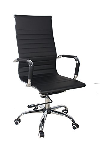 Shaik® Bürostuhl, Konferenz Freischwinger, Chefsessel, Schreibtischstuhl, Liegefunktion, 6 Farben, 3 Größen, (Hohe Lehne Drehstuhl, Schwarz)
