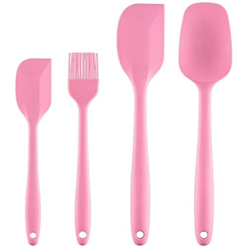 PREMYO Set 4 Spatola da Cucina Silicone Antiaderente Resistente al Calore Pennello Cucchiaio Leccapentola Paletta Dolci Pasticceria Antiscivolo Rosa