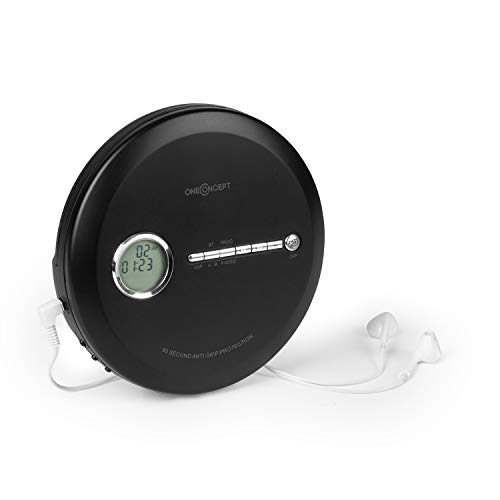 oneConcept CDC 100 BT Discman Disc-Player - BT-Funktion, CD, CD-R, CD-RW und MP3-CD, 2 x 1,5 V Batterien, LCD, ASP, Bassverstärkung, Micro-USB, 3 Wiedergabemodi, InEar-Kopfhörer, schwarz