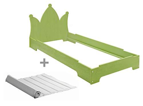 BioKinder Kai stapelbed stapelbed gastenbed met hoofdbordkroon en lattenbodem van massief hout grenen 90 x 200 cm groen geglazuurd