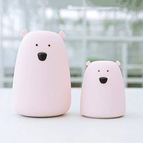 Veilleuse de nuit LED Silicone coloré USB charge lampe de chambre à coucher grand ours blanc,Pink,small