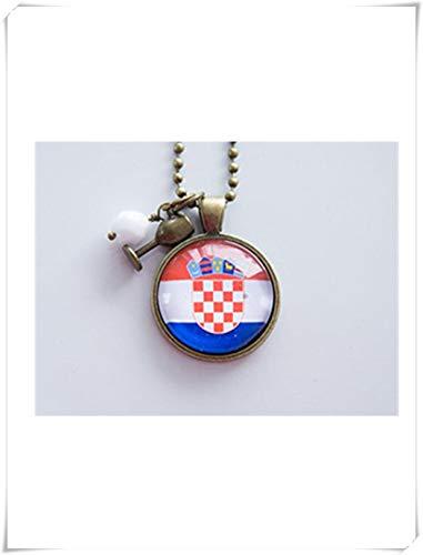 Elfenhaus-Flagge von Kroatien Halskette, kroatische Flagge, Weltflaggen, Patriotischer Anhänger, Fahnenschmuck, reine Handarbeit