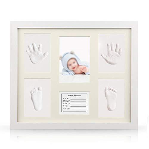 NROCF Baby Hand Und Footprint Kit, Baby Hundert Tage Gedenkfotorahmen, Mit Baby-Info-Karte, Baby Boy Baby Shower Geschenk,Germancard