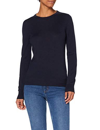Marchio Amazon - MERAKI Pullover Lana Merino Donna Girocollo, Blu (Navy), 48, Label: XL